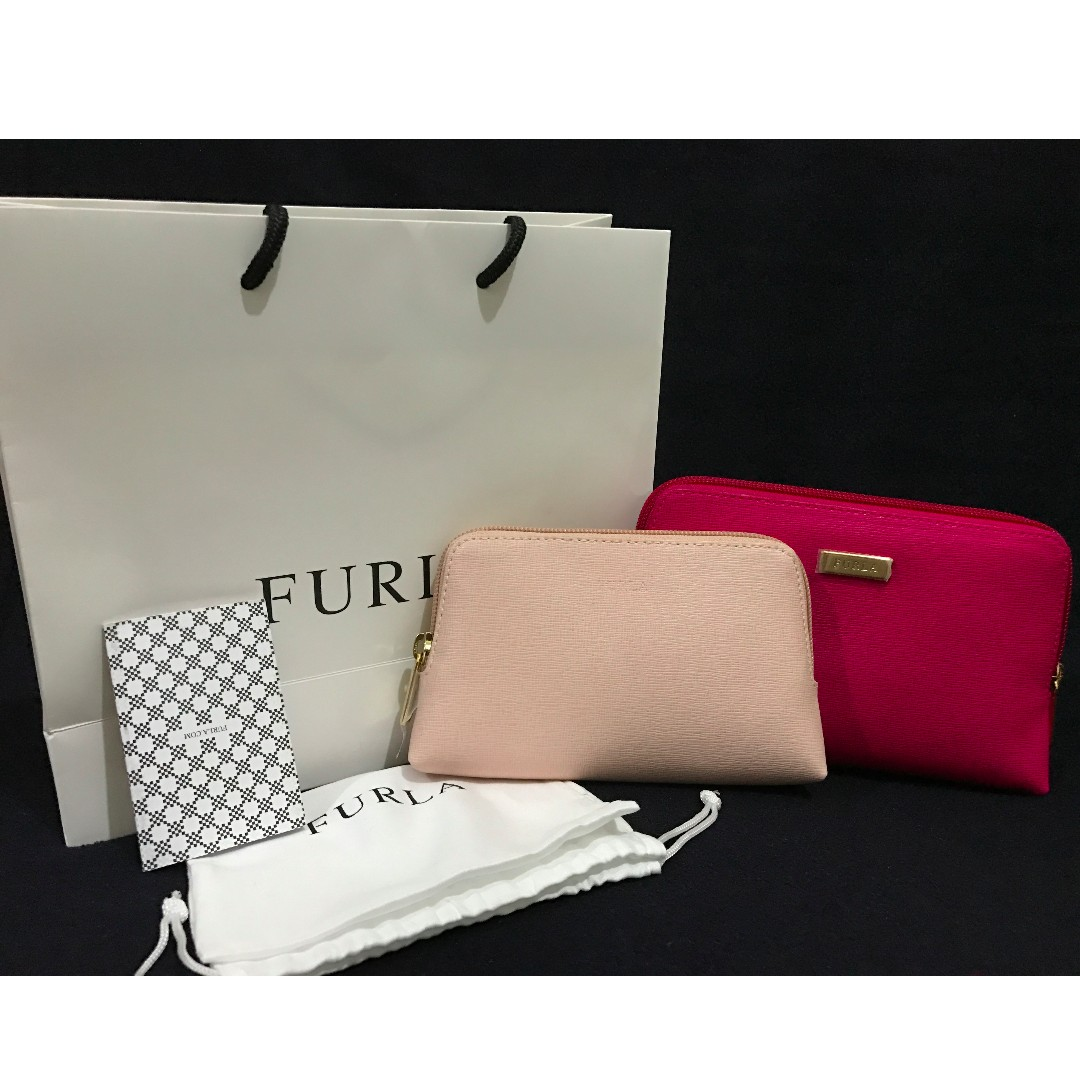 FURLA Classic Cosmetic Case Bag 2 Pouch Set (Gloss Pink Magnolia Blush Leather)