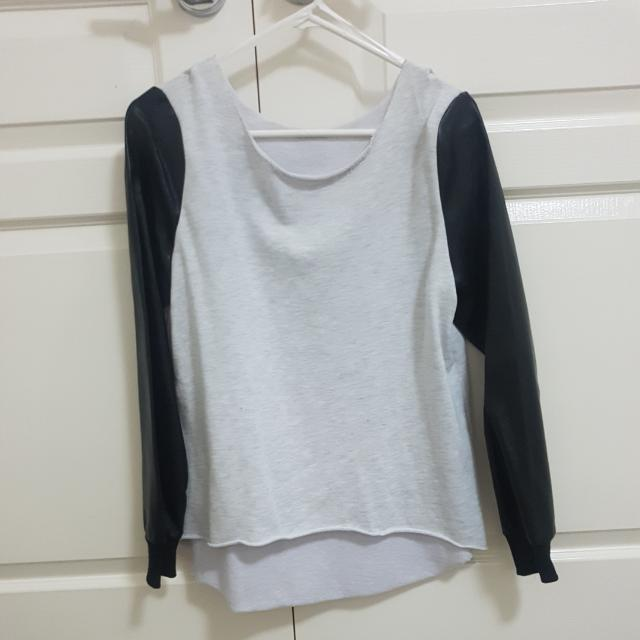 Grey Sweatshirt With Leather Sleeves
