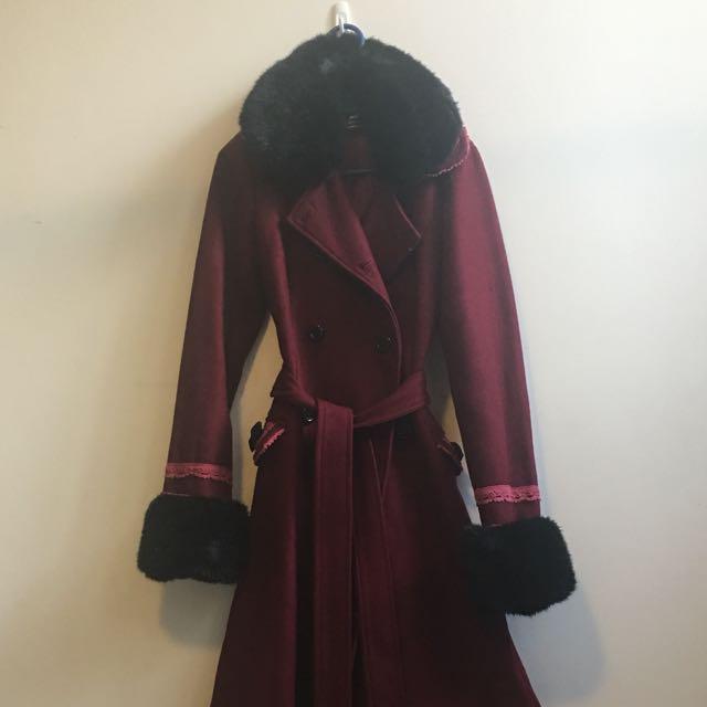 Heavy Wool Lolita Coat, Ox Blood & Black, Faux Fur Cuffs And Collar - Size 10