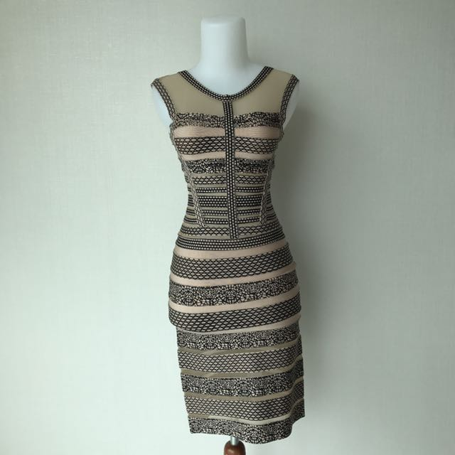 Herve Leger Stripes Beidge Dress
