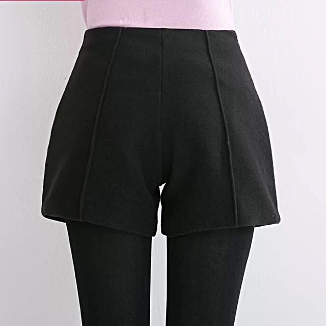 High Waisted Thick Black Winter Short