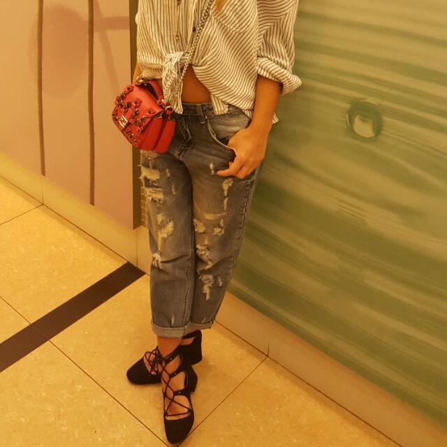 H&M lace up block heel