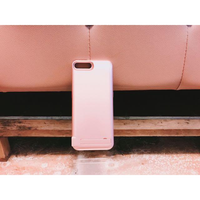 Iphone7plus玫瑰金背夾式行動充電手機殼