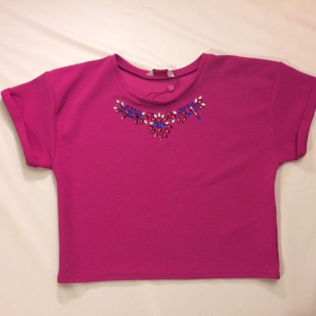 Kylie Brand Pink Jewelled Cropped Top