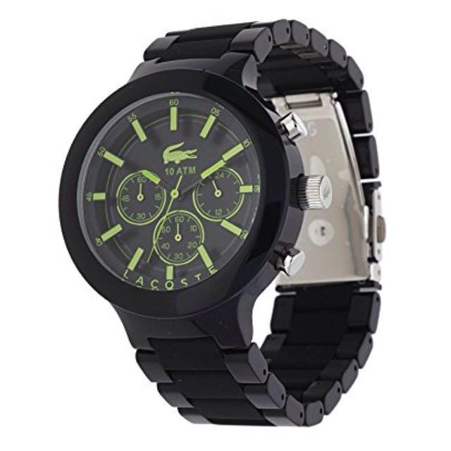 LACOSTE Men's Chronograph Borneo Black Resin Composite Bracelet Watch