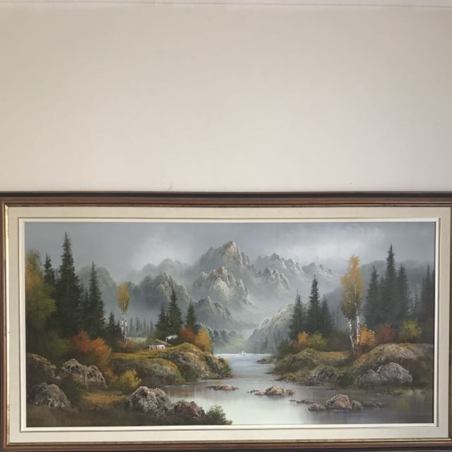 Large Painting Of Mountains By R. King