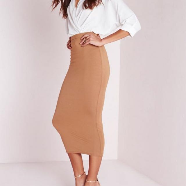 Missguided Camel Skirt Size 6