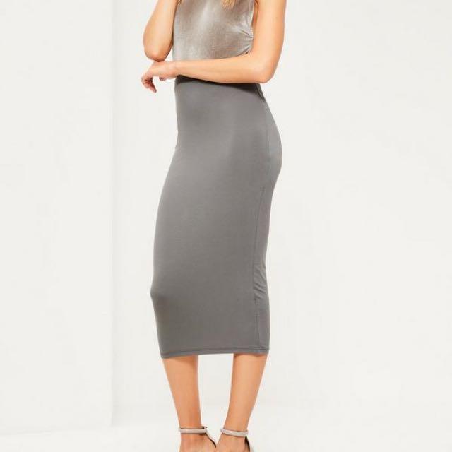 Missguided Grey Midi Skirt Size 6