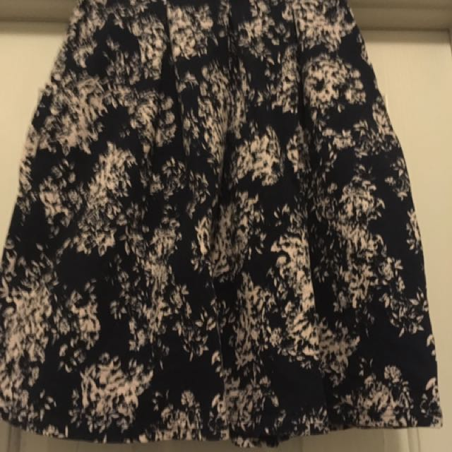Navy Skirt with Pockets