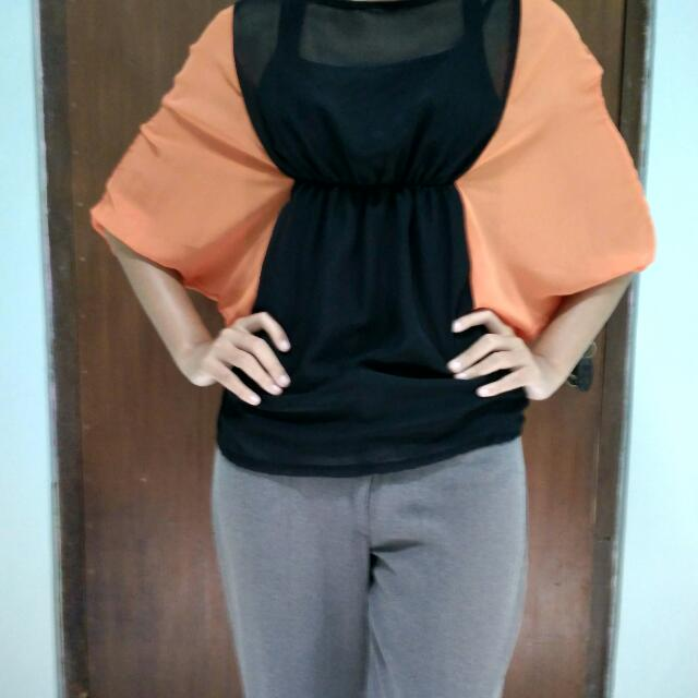 Orange-Black Blouse