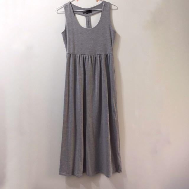 PAZZO棉質灰色長洋裝