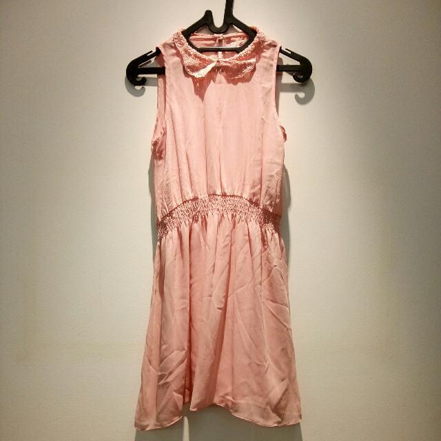 Peach Collar Dress