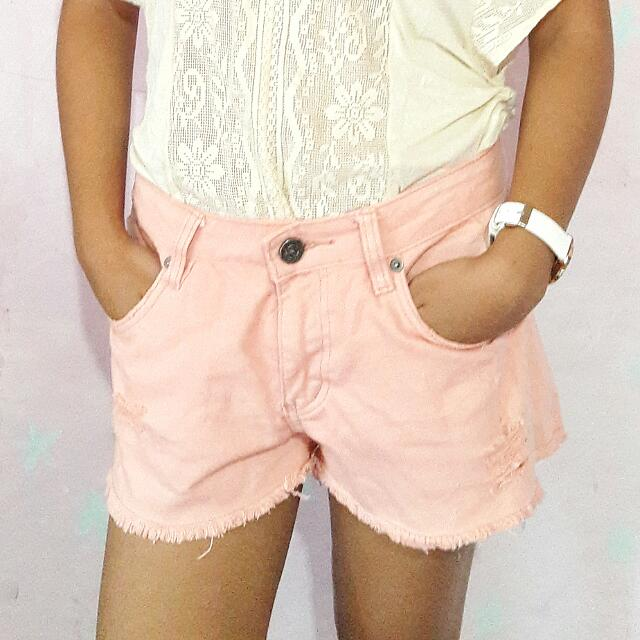 Pink Ripped Shorts