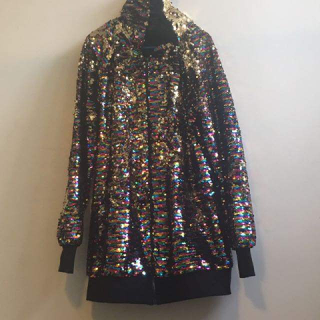 Rainbow Sequin Long Line Hoodie, Grandma Yetta Style - Size 12