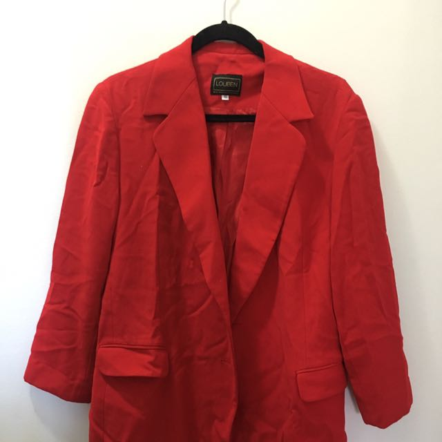 Red Vintage Oversized Blazer