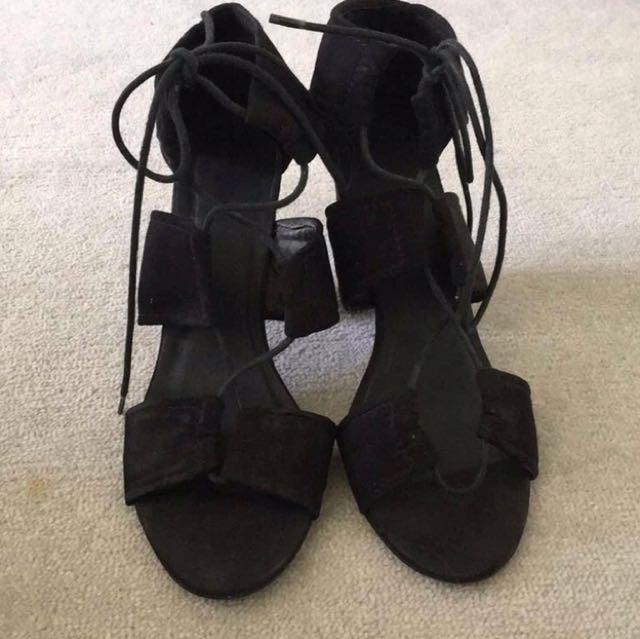 Rubi Black Suede Heels