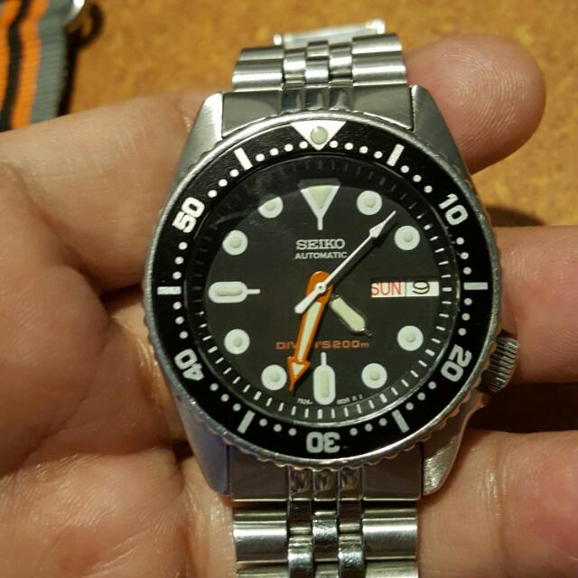Seiko SKX013 7S26 0030 Mid Size Divers In Jubilee Bracelet
