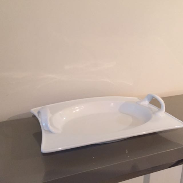 """White Serving Platter; Approx Size 12"""" X 8.5"""""""