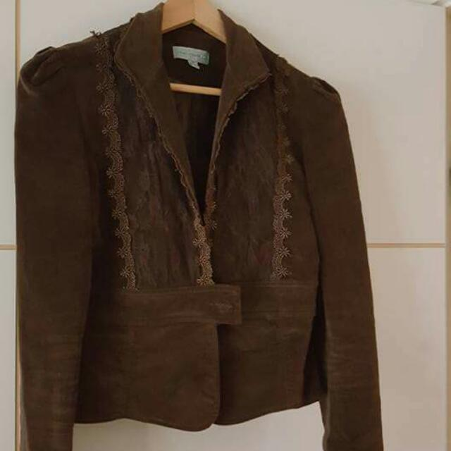 SHORT BROWN JACKET WITH LACE $5