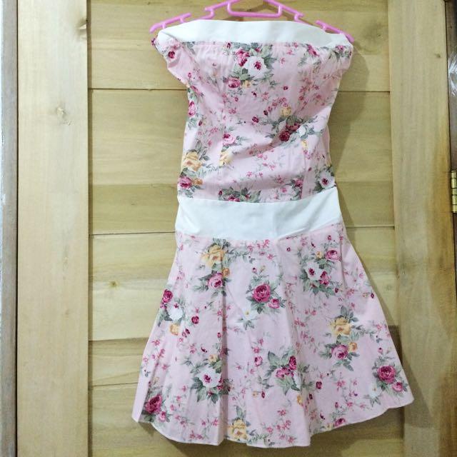 Tube Pink Floral Dress