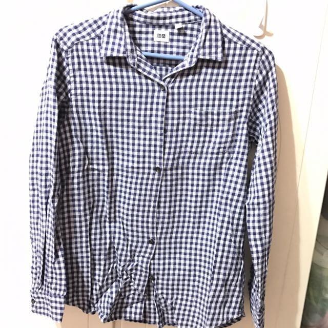 UNIQLO 藍白格紋 上衣襯衫