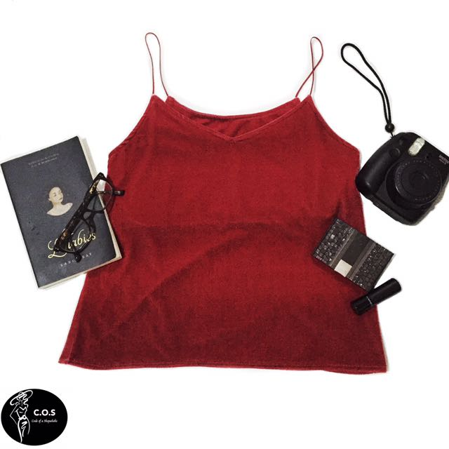 Velvet Cami/ Top - Plum red