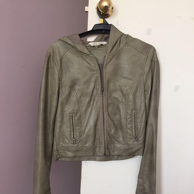 Vintage Leather Jacket - Khaki (Size 8)
