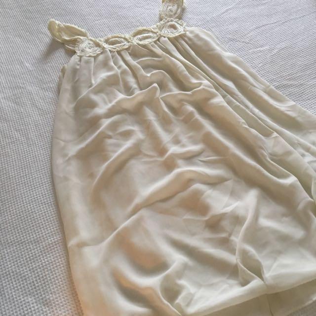 White Knee Length Hemmed Dress