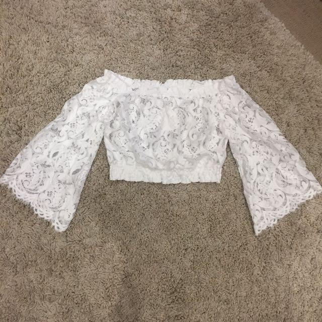White Lace Off Shoulder Crop