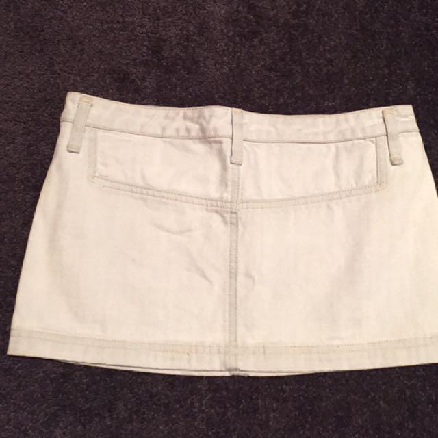 White Suede denim mini skirt 7