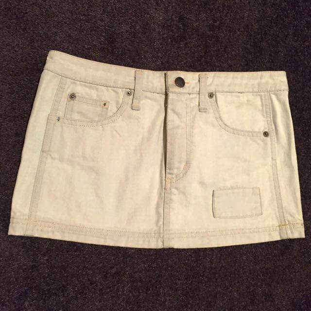 White Suede denim mini skirt 7