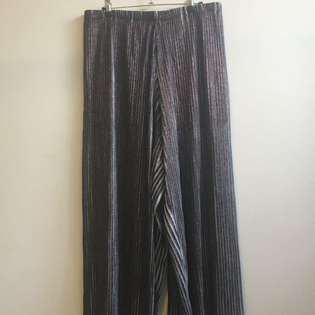 Wide Leg Glitter Disco Pleated Pants - Size 12