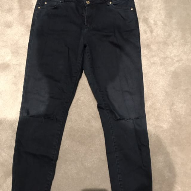 Witchery Navy Blue Ripped Jeans