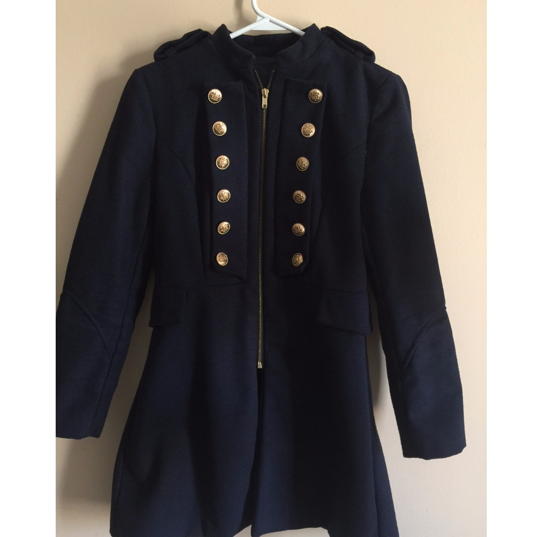 Zara Navy Blue coat with Brass Buttons