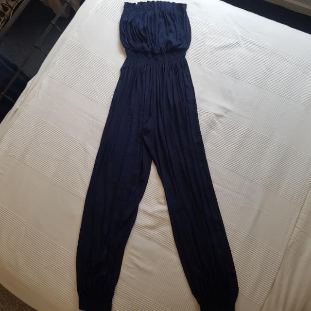 Zara Navy Full Length Jumpsuit