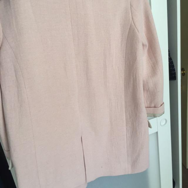ZARA Pink Boyfriend Blazer Size Medium trafaluc