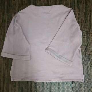 小立領寬袖寬鬆粉上衣