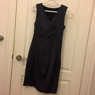 Dark Navy Blue Silk Dress Size XS