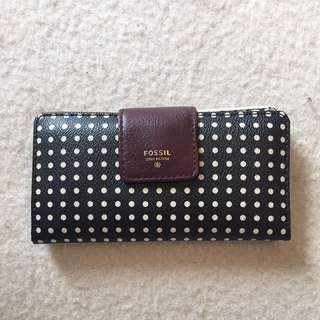 Fossil leather polka-dot wallet