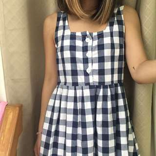 Vintage Navy Gingham Smock Dress