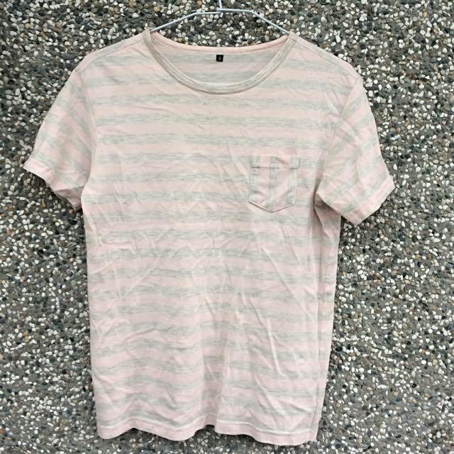 0416X1024 台灣設計師 純棉粉灰條紋T恤上衣