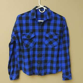 Maxxo Blue Cropped Flannel