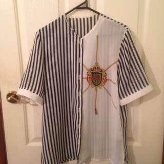 Vintage Collarless Button Shirt