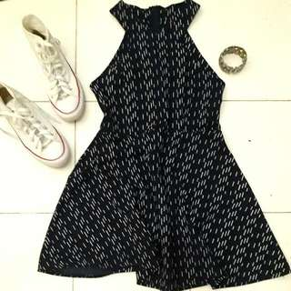 Printed Navy Blue Dress