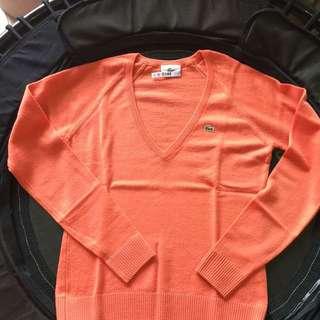 Lacoste橘色V領羊毛衣 尺寸:36