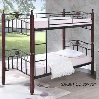 Wooden Post double deck  36x36x75  with 2pcs Uratex foam 4x36x75 it is aranged into two beds..  made in malasia