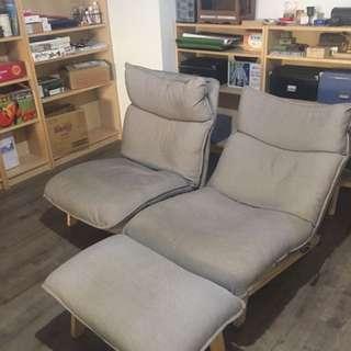 muji雙人沙發椅+2張椅凳