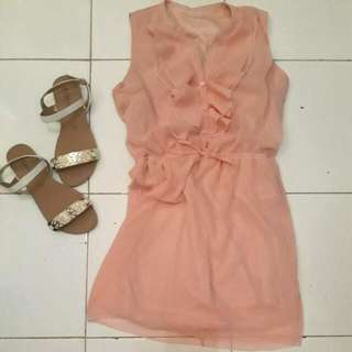Sleeveless Peach Dress