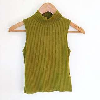Chartreuse Mock Neck Crop Top