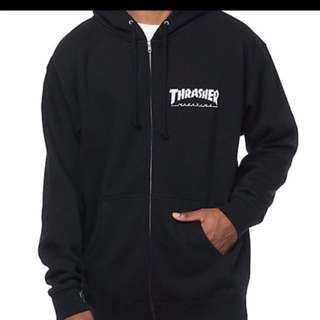 (STEAL)THRASHER BASIC BLACK WITH WHITE BRAND PRINTING HOODIE
